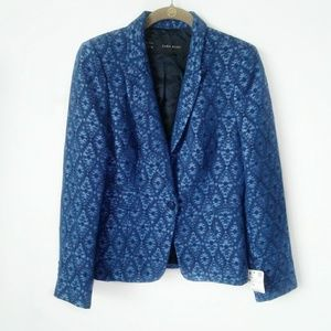 Zara Basic blazer blue textured size medium